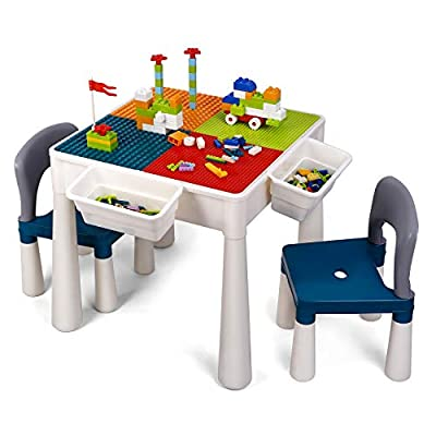 amzdeal Kids Activity Table Set Table and Chairs Set with Storage, 360 Pieces Building Blocks Compatible Bricks Toy, Building Block Table, Safe ABS Material, for Boys Girls Over 3 Years Old