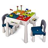 amzdeal Juego de Mesa y 2 Sillas Infantiles Mesa de Bloques para Niños Mesa de Actividades Multiusos con Bloques de...