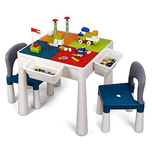 amzdeal Juego de Mesa y 2 Sillas Infantiles Mesa de Bloques para Niños Mesa de Actividades Multiusos con Bloques de partículas Grandes y Pequeños Mesa de Estudio Mesa de Comedor Mesa de Juego ⭐