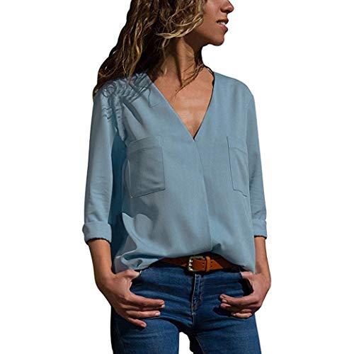 TWIFER 2020 Herbst Langarm V-Ausschnitt Taschen T-Shirts Tops Damen Business Bluse