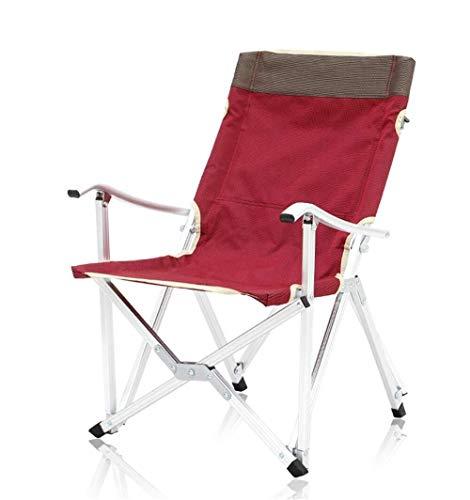 ch-AIR Pêche Pique-Nique Barbecue Chaise Extérieure Portable Léger en Aluminium Chaise Pliante Dossier Chaise Longue (Color : Purple Red, Size : S)