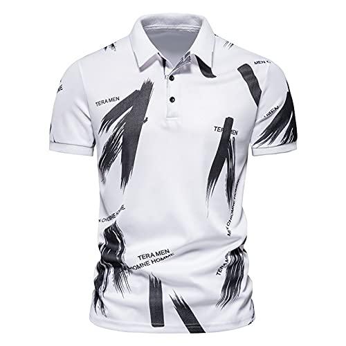 LSSM Camiseta De Verano para Hombre Camisa De Polo De Solapa De Manga Corta con Estampado Informal De Letras A...