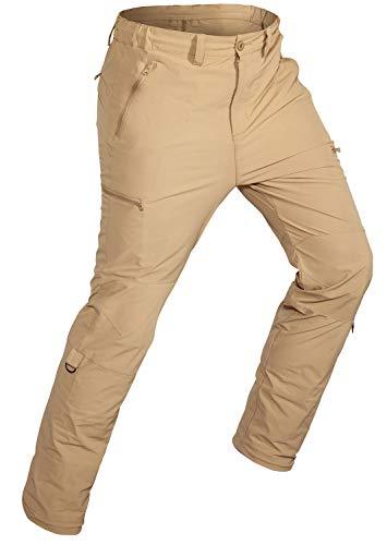 Wespornow Pantalones de Trabajo-Pantalones de Senderismo de Hombre-Straight-Slim Fits-Pantalnes Elasticos Multibolsillos Stretch Negro Casual-Pants (Marfil, XL)