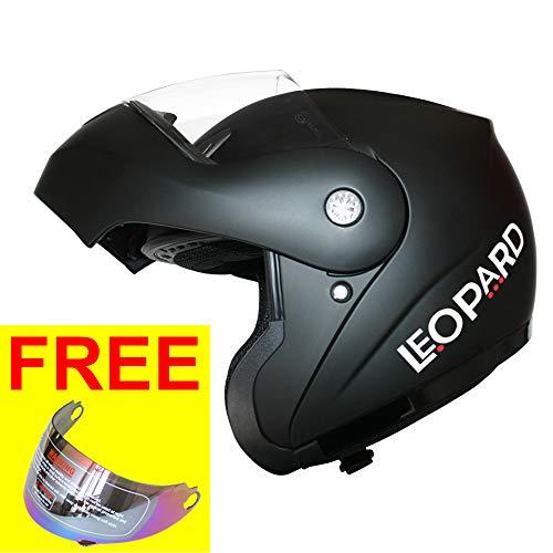 Leopard LEO-717 Klapphelm Integralhelm Motorrad Roller Helm mit Extra Iridium Visier Motorradhelm Damen und Herren Jethelme ECE Genehmigt | #1 Schwarz matt XXL (63-64cm)