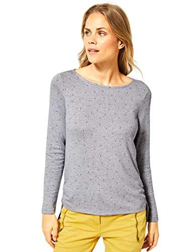 Cecil Damen 315391 Langsarmshirt mit seitlichen Bändern T-Shirt, Mineral Grey Melange, Large