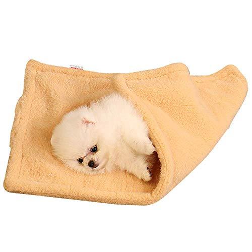 GLEYDY Lit de Chien Épais Double Couche Couverture Animal Domestique Coussin Tapis Lit Mat Couverture Coussin Sleeping Mat pour Chien Chat,Jaune,S