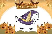 Qinunipoto 背景布 ハロウィン happy halloween 写真の背景 こうもり かぼちゃ ろうそく ユニコーン くもの巣 背景幕 写真ブース撮影 背景ポスター 写真背景 人物撮影 撮影用 小道具 ビニール 2.1x1.5m