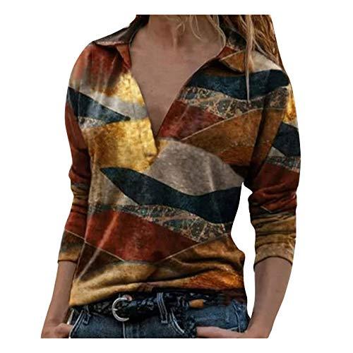 Chejarity Blusa para mujer con cremallera, sexy, cuello en V, impresión de moda, manga larga, blusa para mujer, suelta, túnica, amarillo, XXL