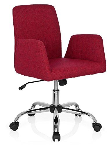 hjh OFFICE 723031 Living Stuhl Flow Stoff Rot Bürostuhl Drehsessel gepolstert mit Rollen & Wippfunktion, höhenverstellbar