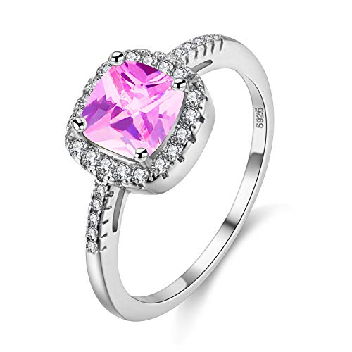 Uloveido Platinum Plated Cushion Cut Cubic Zirconia Halo Solitaire Engagement Rings for Women, Charm Wedding Band Rings (Pink, Size 9) Y3100
