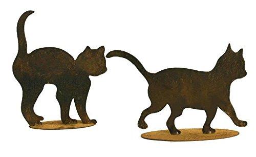 oxidado Deko–Gato sobre placa–Juego de 2–Altura 20cm/25cm–parrilla (Decoración/deko gato/Gato Decoración