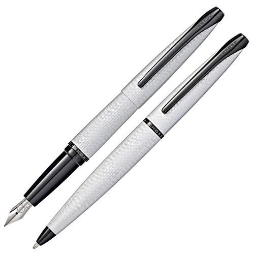 Cross ATX - Juego de pluma y bolígrafo (en caja de regalo), cromado cepillado