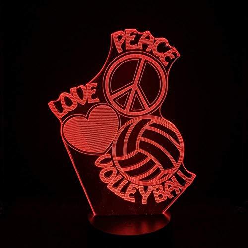 LED Illusion 3D Volley-ball lampe capteur tactile multi-couleur Chambre de chevet décorative Love Peace Logo prix Lampe de bureau Enfants Cadeaux Fête anniversaire de charge USB lumière de nuit