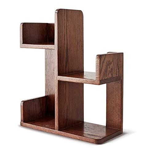 Soporte de exhibición de piso Biblioteca de escritorio de madera maciza de madera natural Organizador de escritorio de libro de escritorio para oficina para oficina mesa de mesa Estantería industrial