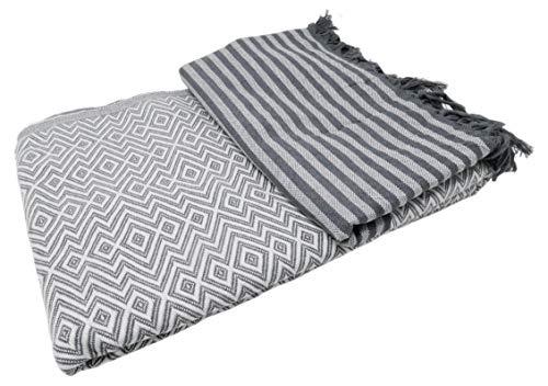 Bella Casa KELIM LUX Tagesdecke Bettüberwurf Überwurf Plaid Baumwolle 205x260 cm (Weiß)