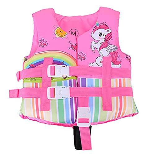 Kids Swim Vest Float Jacket Summer Cute Swimwear with Adjustable Strap for Swimming Pool, Beach, Swimsuit for Children Swimming Learning (Pink Unicorn, 2-4T)