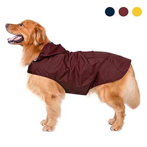 Zellar Impermeable para Perros con Capucha y Collar Agujero y Tiras reflectoras...