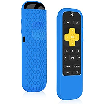 Remote Case/Cover for NOW TV Smart Stick,Roku Streaming Stick+ HD Streaming Media Player,Protective Holder Skin Sleeve ShockProof for Now TV Remote Control,Silicone Remote Battery Back Cover-Blue
