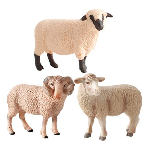 Kisangel 3pcs Sheep Figure Toy Plastic Realistc Farm Sheep Animals Model Barn Farm Figurines Small Lamb Poultry Kids Education Cognitive Toy for Collection Desk Ornament