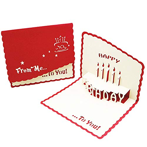 BESLIME Pop Up Cards,Birthday Handmade 3D Pop up Birthday Card for Women Men Kids with Envelope Laser Cut Gift Cards