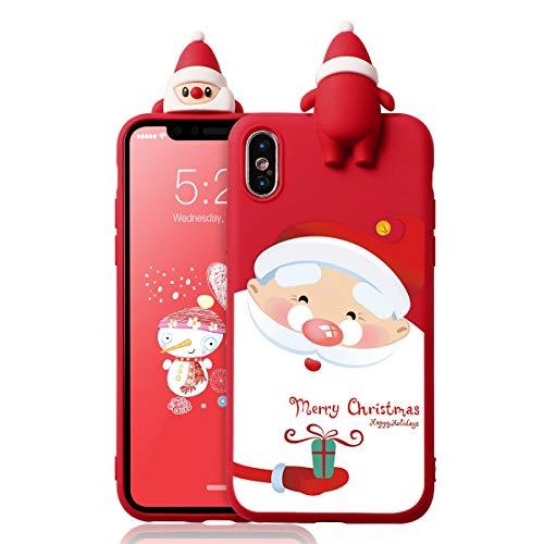 ZhuoFan Funda para Apple iPhone XS MAX, Cárcasa Silicona 3D Muñecas con Dibujos Navidad Diseño Suave Gel TPU Antigolpes de Protector Case Fundas para Movil Apple iPhone XS MAX, Regalo