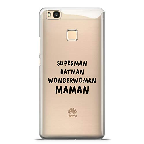 ZOKKO Coque Huawei P9 Lite Superman Batman Wonderwoman Maman - Souple Transparente Encre Noir