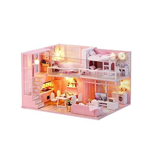 CHEJHUA -3D de Madera casa de muñecas Juguetes for niños Gatito Diario muñeca Muebles de la casa DIY Modelo en Miniatura de la Cubierta de Polvo DIY (Color : with Dust Cover)