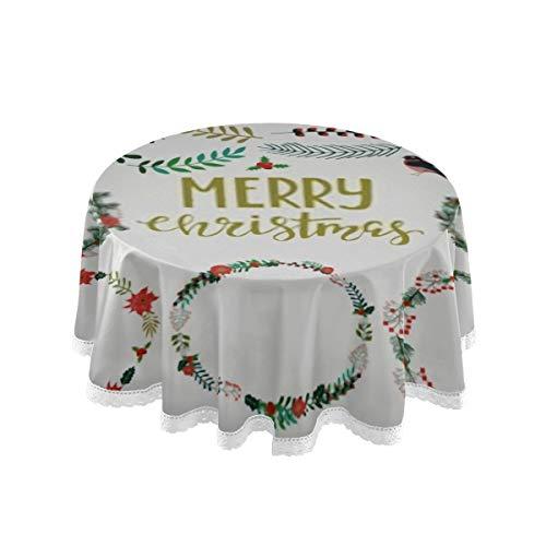 DUKAI Tovaglia, 60 Pollici Rotonda Stagione Biglietto di Auguri Corona di Natale Set Tovaglia Stampa Tovaglia Lavabile Pranzo Decorativo per Casa per Feste Festa di Natale Picnic 60 Pollici