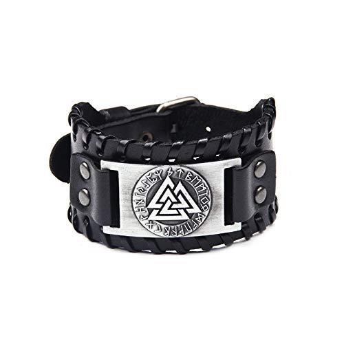 MAGIIE Herren Lederarmband Gotik Punk Rock Lederband,Kompass/Totem der Wikinger/Wolf/Baum des Lebens,Echtlederarmband Herren (Totem der Wikinger)