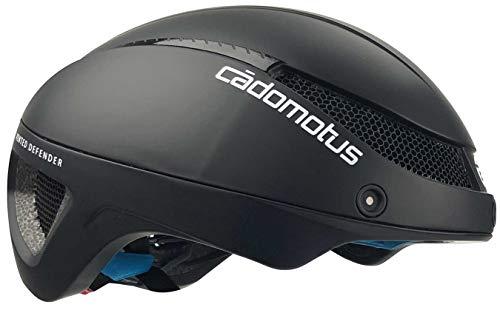 CADOMOTUS Omega Aero Helm Mattschwarz | Aerodynamischer Helm für Radfahren, Triathlon und Eislaufen | Ultra Leicht & Wenig Luftwiderstand | Für Männer & Frauen | Visier Optional | Large 58-61cm