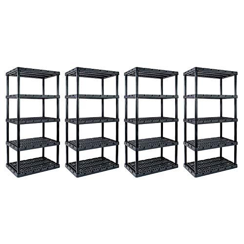 Gracious Living Knect A Shelf Heavy Duty Storage 5 Tier Shelving Unit (4 Pack)