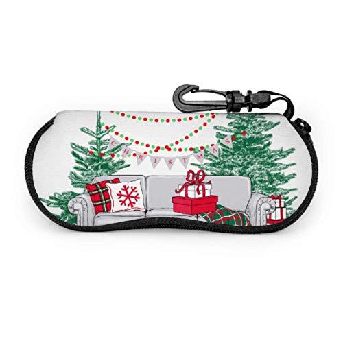 Lindo sofá de casa de Navidad para mujer Estuche para anteojos Estuche para anteojos Estuche para gafas delgado y ligero portátil con cremallera de neopreno divertido Estuche para gafas