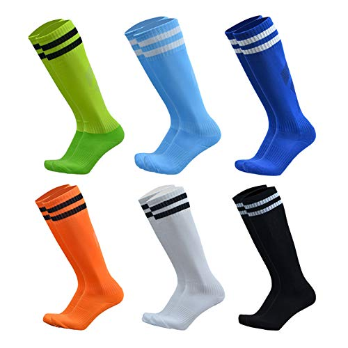 VWU Unisex Knee High Double Stripes Athletic Soccer Football Tube Socks for Adults&Children (Multicolour 6pcs, Large)