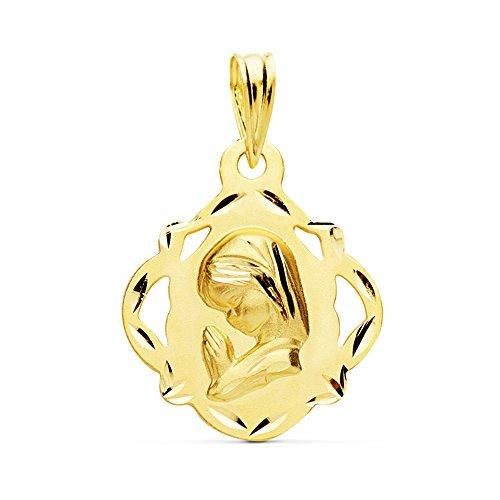 Medalla Virgen Niña Pandereta Oro Amarillo 18 K19mm - Joya Personalizable, Grabado gratuito