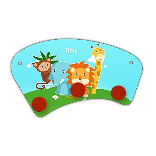Eurofoto Wand-Garderobe mit Namen Otto und Zoo-Motiv für Jungen | Garderobe für Kinder | Wandgarderobe