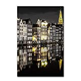 WSWWYEuropäische Landschaft abstrakte schwarz-weiß gelb architektonische Leinwand Malerei Nordic Dekoration Kunst Poster und Drucke A 40x60cm No Frame