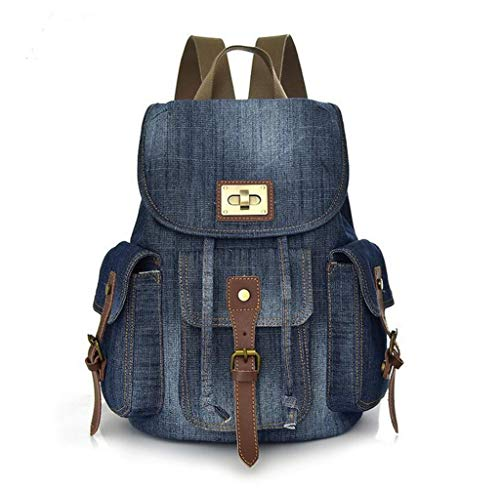 WOMENS ladies FASHION backpack denim backpack travel bag casual Daypack RUCKSACK (blue)