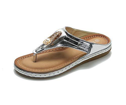 Zapatillas de estar por casa para mujer, modernas y cómodas, sandalias informales de playa, 123, plata, 41