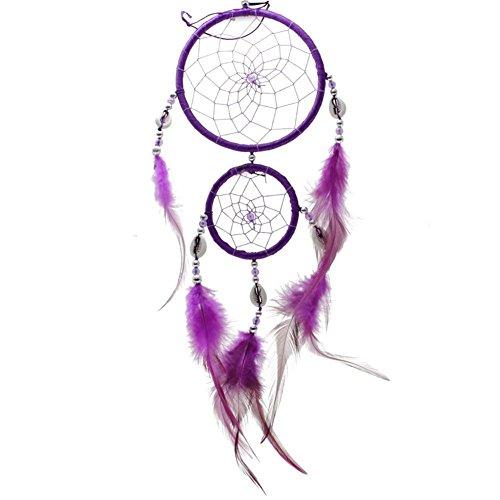 fabl Crew Eau Douce Attrape-rêves Net Circulaire Dream Catcher avec Plumes suspendues décoration pour Voiture Murale Home Accessoires Violet