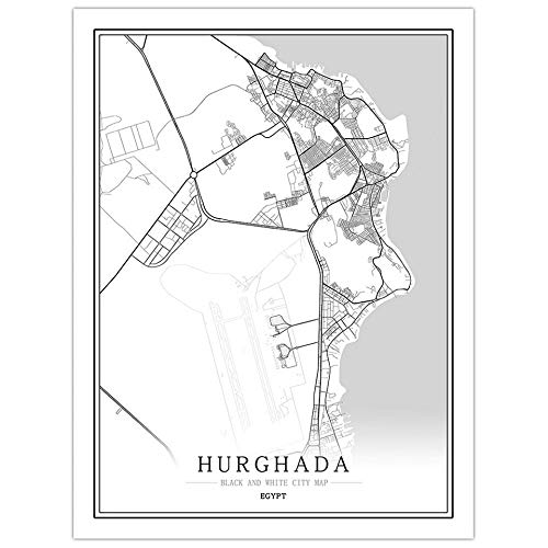 Leinwand Bild,Ägypten Hurghada City Map Wall Art Black White Line Wandbild Poster Bilder Minimalistische Malerei Modular Pop Einfaches Leben Büroflächen Vertikale Personalisierte Dekoration, 30 Cm