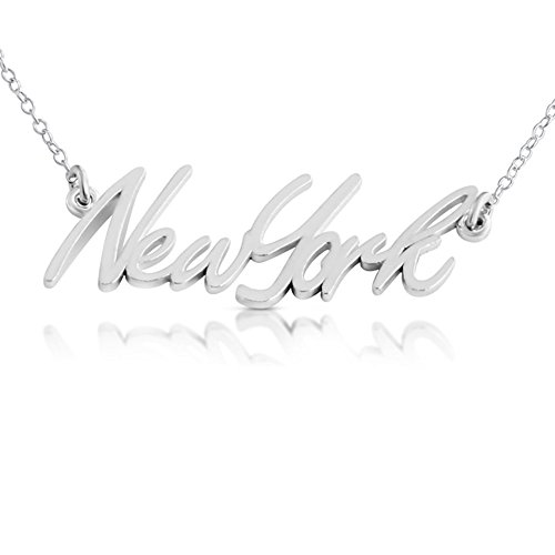 925 Sterling Silver New York State Handwritten Script Necklace USA NY (18 Inches)