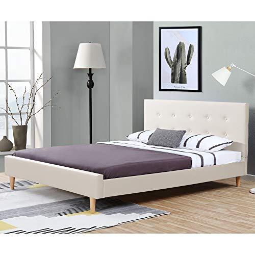 Corium Polsterbett aus Kunstleder Bettgestell mit Lattenrost 140x200 cm Bett inkl. Lattenrahmen und Kopfteil Doppelbett Jugendbett Weiß