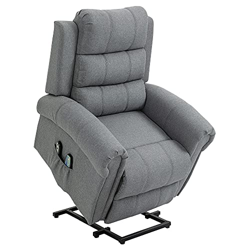 homcom Poltrona Relax Massaggiante Reclinabile Poltrona Alzapersona Elettrica Riscaldante in Tessuto 98x96x105cm