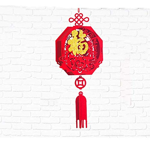 Bunte Papierlaternen Chinesisches Festival und Feier-Papierlaterne, chinesischer glücklicher rot-Fu 3d Puzzle-Laterne (2 Laternen) Indoor-Anhänger Chinesische Papier-hängende Dekorationen Laternen-Lam