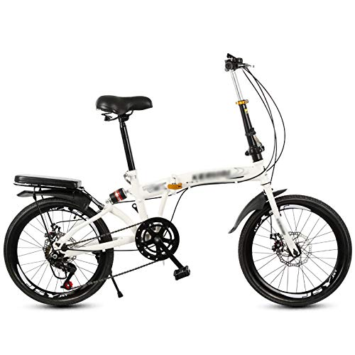 Folding Mountain Bike 20-Inch Wheel, Shock Absorber Design, 6 Speed, Double Disc Brake Full Suspension Anti-Slip Foldable Bikes for Youths and Adults