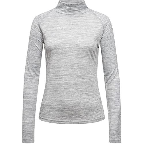 Super.natural Tee-shirt Manches Longues pour Femmes, Col Montant, W BASE TURTLE NECK 175, Taille: S, Couleur: Gris