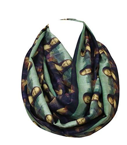 DiCapanni's Mona Lisa painting infinity scarf by Leonardo Da Vinci gifts for her art history student teacher painter history buff sculpturer