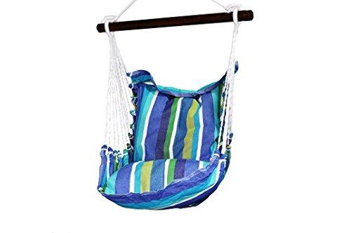 Exporsal Fauteuil Suspendu/Hamac-Chaise - Enfant - Toile Coton (Dominica Bleu) - Poids Maxi 80 kg. Vendu sans Coussins