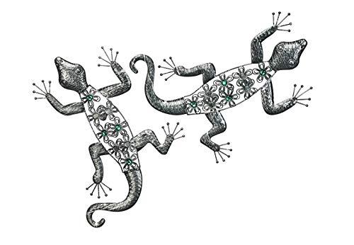 Kobolo Wand-Deko Eidechse Gecko Echse mit Acrylperlen XXL - 2er Set - Metall - 50x39x3 cm