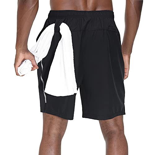 HMIYA Pantalon Corto Hombre Deporte Secado Rápido Transpirable Pantalones Cortos Deportivos con Cremallera Bolsillos Shorts Deportivos (Negro,EU-XL/US-L)